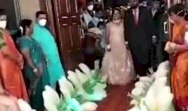 #Flower Chain Bride Groom Entry Concept +91 81225 40589 Wedding Reception Decoration